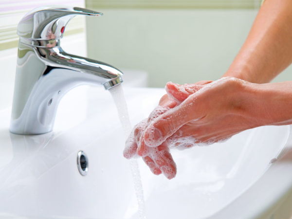 Wash hands to avoid the flu